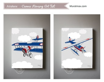 Airplane Boys wall art - Airplane Canvas Art, Boys Room or Nursery Decor, Set of two Canvas Wall Art