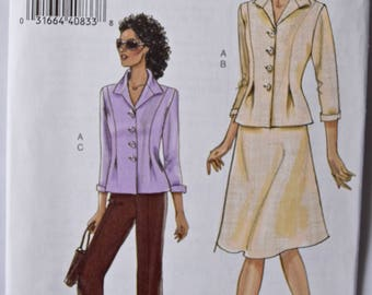 Very Easy Vogue 8262 Sewing Pattern Misses' Suit Fitted Jacket with Tucks A-Line Skirt and Straight Leg Pants UNCUT FF Sizes 6-8-10-12