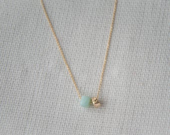 Light Blue & Gold  Bead Necklace
