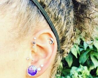 Mermaid Scale Studs, Purple Hue Earrings, Purple Studs, Mermaid Earrings, Mermaid Scale Earrings, Studs,12MM, Purple Earrings Gifts