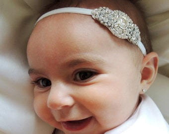 Rhinestone Baby Headbands, Couture Baby Headband, Infant Headband, Toddler Headband, Girl Headband, baby baptism