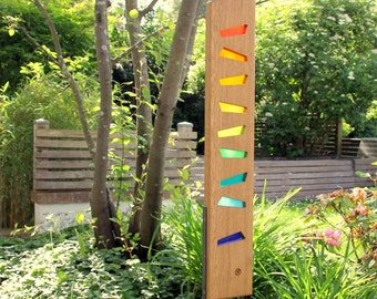 gardensculpture of wood and glass