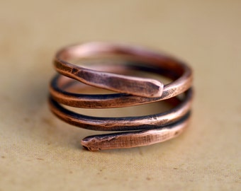 Hammered Copper Thumb Pinky Ring, Textured Wire, Artisan Womens Mens Rustic Oxidized Jewelry, Wife Husband Girlfriend Boyfriend Mom Dad Gift