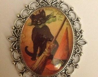 Black Cat & His Broom Necklace