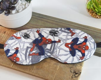 Flannel Sleeping Eye Mask in a Spider Man Fabric, Unisex Web Sleep Cover Present, Soft Comfortable Light Blocking Slumber Party Accessory