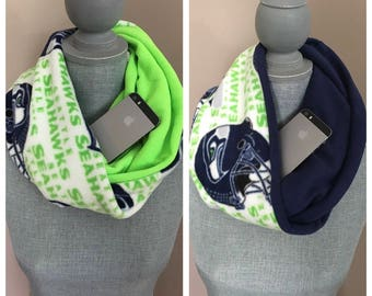 HOLIDAY SALE BUNDLE- Get Two Infinity Scarves with Hidden Pocket - Two Sided Seahawks Scarves