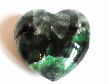 Multi Fluorite Unique 69g Crystal Heart Stone (Beautifully Gift Wrapped)