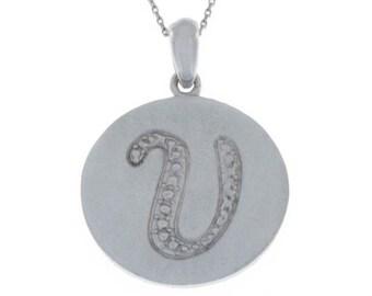 Initial Letter V Pendant .925 Sterling Silver Rhodium Finish