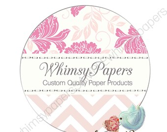 """Custom Floral Chevron Labels,  """"Thank You"""" stickers, Glossy Round Stickers"""
