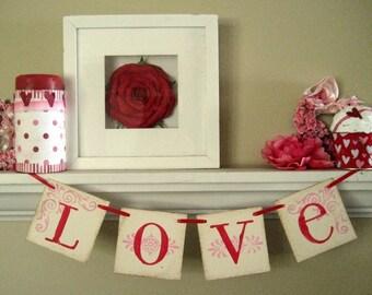 Valentine Day Decor LOVE Banner Garland Sign