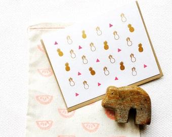 Geometric Pineapple Card (Gocco Printed)