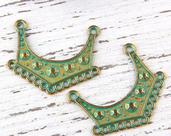 Retro Verdigris Green Patina Plated Mini Tribal Connectors,2 pieces // ABC-019