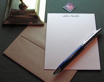 Custom Letterpress Stationery, 10 Personalized Notecards – Bernhard Gothic Light