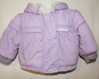 Vintage 1980s London Fog Infant Girls Lavender Heavy Faux fur Hooded Coat Size 18 months