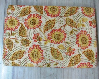 Indian handmade new floral pattern queen size kantha quilt
