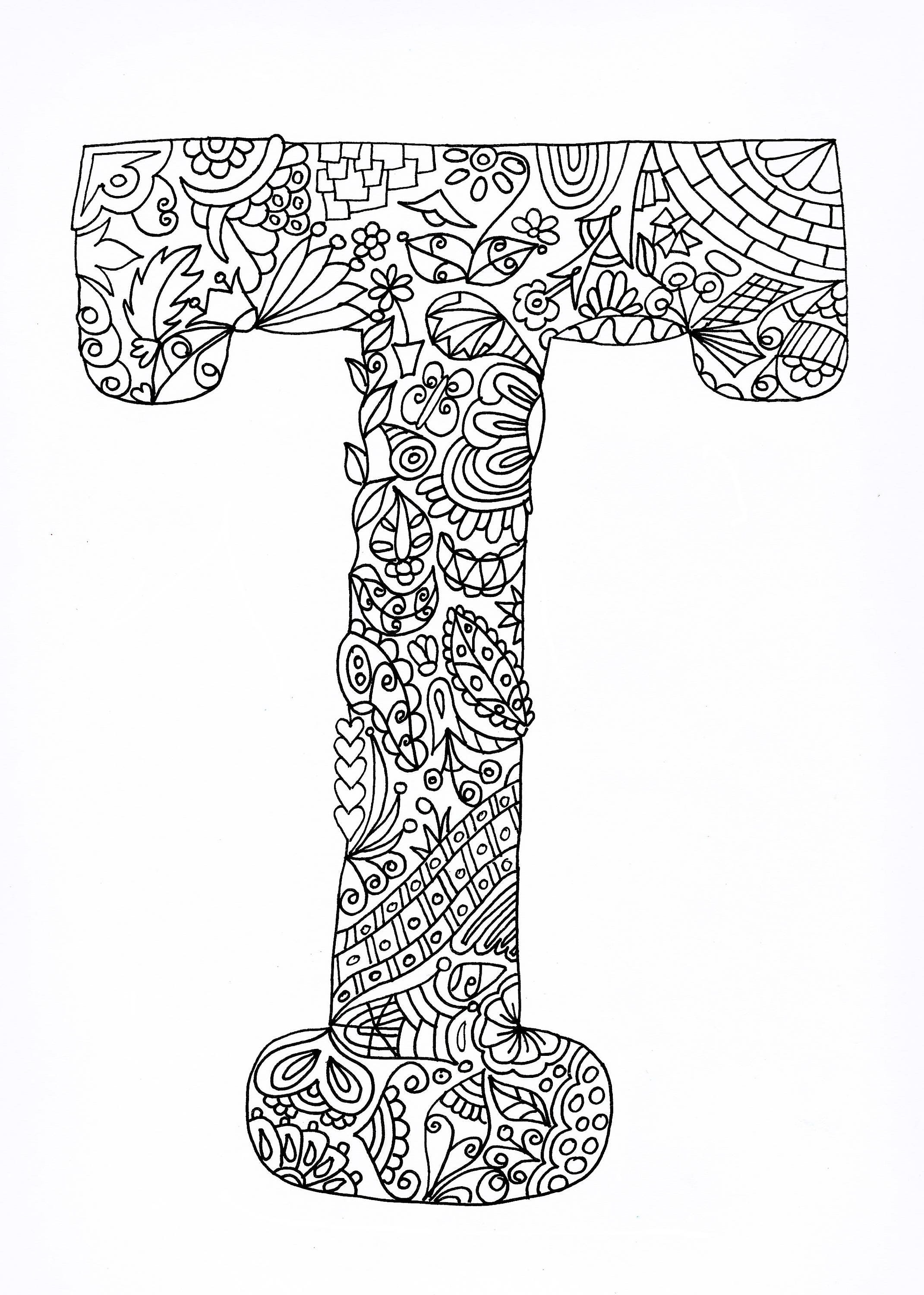 Coloring Letter T, Adult Autumn Colouring Page Hand Drawn