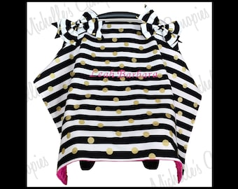 Personalized Baby Infant Car Seat Cover for Girl, Baby Infant Car Seat Canopy for Girl, Black and Gold