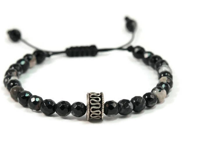Urban Men's Agate Panda Pull Tie Single Bracelet. Boho Jewelry. Bohemian Jewelry. Ideas for him. Gift for him.