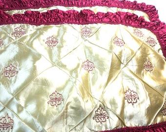 "3 pc Pillow Shams PR Pillow Shams 40's Plus 1 Hollywood Art deco Modernism Movies Ecru Satin w Red Ruffles & Embroidered Designs 19 x 28"" ea"