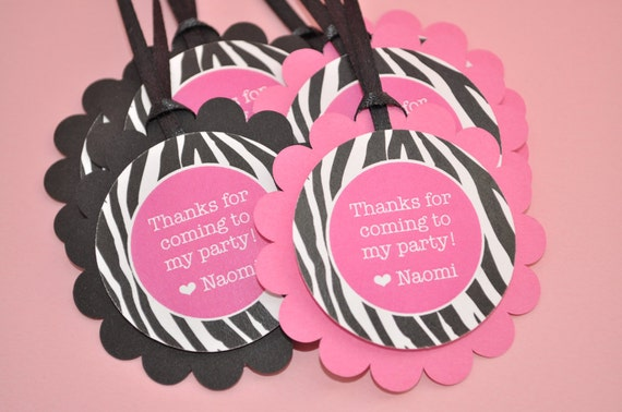 Birthday Favor Tags Thank You Tags Goodie Bag Tags Party