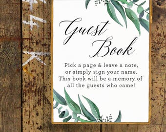 Guest Book Sign Eucalyptus Watercolor Baby Shower | Please Sign The Guest Book | Printable, Instant Download