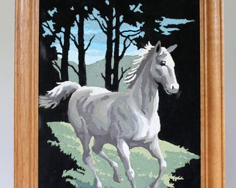 Vintage  Horse Paint by number black velvet