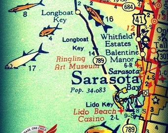Sarasota Map Art, Vintage Florida Map art, Sarasota Wall Art Sarasota Florida Gifts Old FL Map Vintage Florida Map Print Siesta Key map art