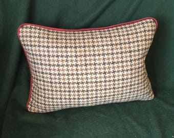 Camel brown mocha houndstooth tweed wool with mocha brown cashmere reverse and rust flat welt trim pillow