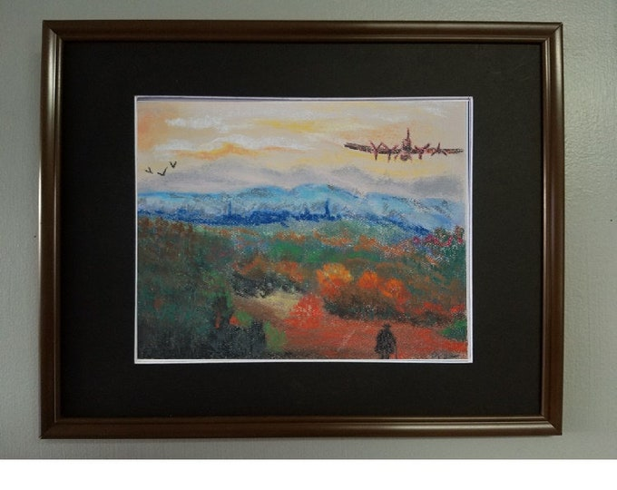"8x10 Original Pastel Painting, Airplane over Landscape Artwork, ""Here Comes the Plane"""