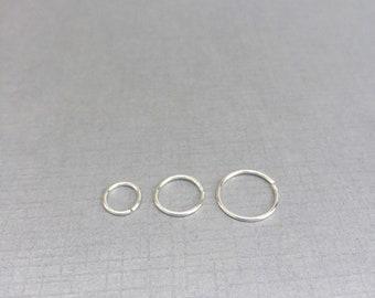 Thin nose ring, forward helix earring hoop, sterling silver septum ring, 20g 22 gauge nose hoop, Silver cartilage earring, 6mm, 8mm, 10mm