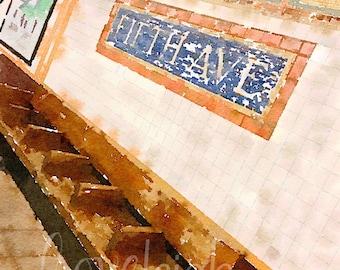 Watercolor Fifth Avenue Subway Art Digital Photo
