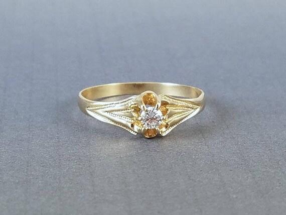 Antique Edwardian 14k gold .10 ct diamond bridal wedding solitaire engagement ring size 7.5