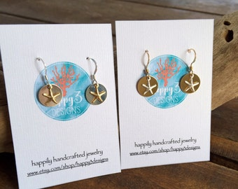 Starfish Mixed Metal Disc Earrings, Sterling Silver and Gold filled Ocean Earrings