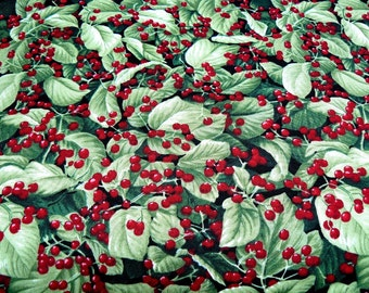 Green Floral print Fabric, green fabric, destash fall quilt fabric, floral material, Christmas floral fabric, red berries green leaves