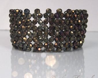Tutorial Chenille net bracelet, DIY beading pattern, easy beading tutorial