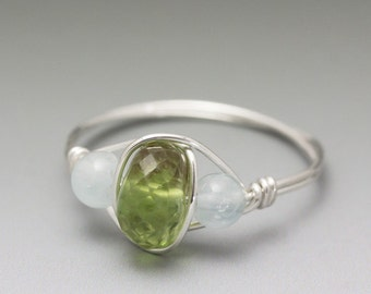 Peridot Faceted & Aquamarine Sterling Silver Wire Wrapped Bead Ring - Made to Order, Ships Fast!