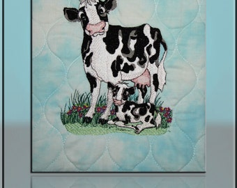 Cow and Calf Fiber Art Canvas Quilted & Embroidered Handmade by Mary Brader #616