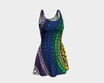 Rainbow Flare Dress - Wearable art - Summer dress - Comfortable - Festival Clothing - Printed Dot Painting - Summer dress