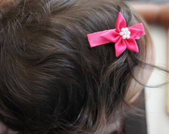 Two Pink Flower Hair Clips, Baby Hair clip, Girls Hair Barrettes, Baby Barrettes, Hair Barrettes