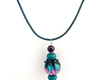 Teal and Amethyst Lotus Blossom Beaded Lampwork Pendant Necklace, Lampwork Necklace, Beaded Necklace, Women's Jewelry, Gifts,  Career Wear