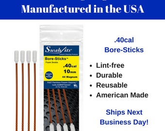 Bore-Sticks™ .40cal/10mm/410 One-Piece Rod W/Swab Cleaning Tool