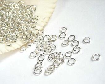 50/100 Silver Plated Jump Rings 4mm, Open Loop - 7-2