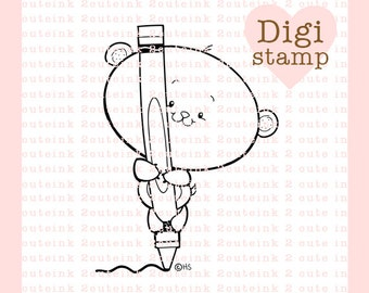 Bear Crayon Digital Stamp for Card Making, Paper Crafts, Scrapbooking, Hand Embroidery, Invitations, Stickers, Cookie Decorating, School