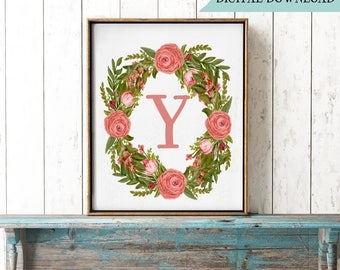 Y Printable Monogram, Letter Y Wall Decor, Floral Wreath Initial Print, Initial Y Gift