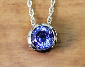 Tanzanite necklace, tanzanite pendant, bezel necklace, white gold necklace, fine jewelry necklace, blue tanzanite, wrought custom
