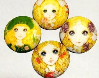 "covered button set  ""Japanese retro modern girls-ish"" (4) kawaii button"