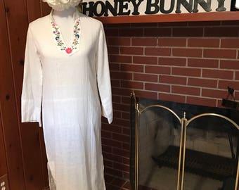 Vintage 1970s White Gauze Dress