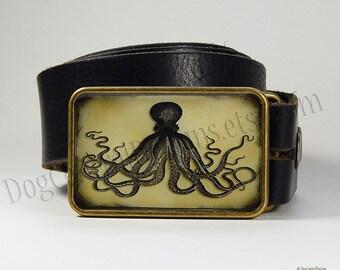 Belt Buckle Octopus Vintage Style Belt Buckle Choice of Buckle Finish Womens Belts Mens Belts Sea Life Buckles Sea Creatures