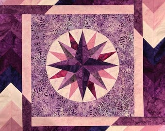 Original Purple and Pink Mariner's Compass Quilted Wall Hanging Art Quilt