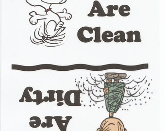 Snoopy, Dancing, and Pig Pen , Dishes are Clean, Magnet,   NEW LARGER SIZE !!